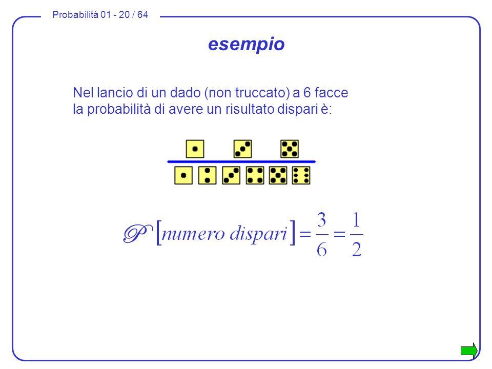 esempioNel lancio di un dado (non truccato) a 6 facce la probabilità di avere un risultato dispari è:
