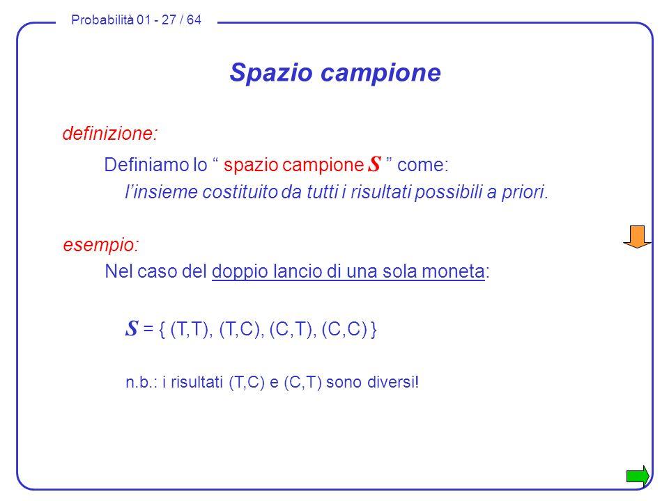 Spazio campione definizione: Definiamo lo spazio campione S come: