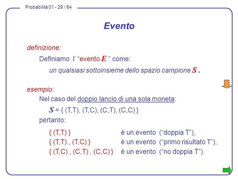 Evento definizione: Definiamo l' evento E come: