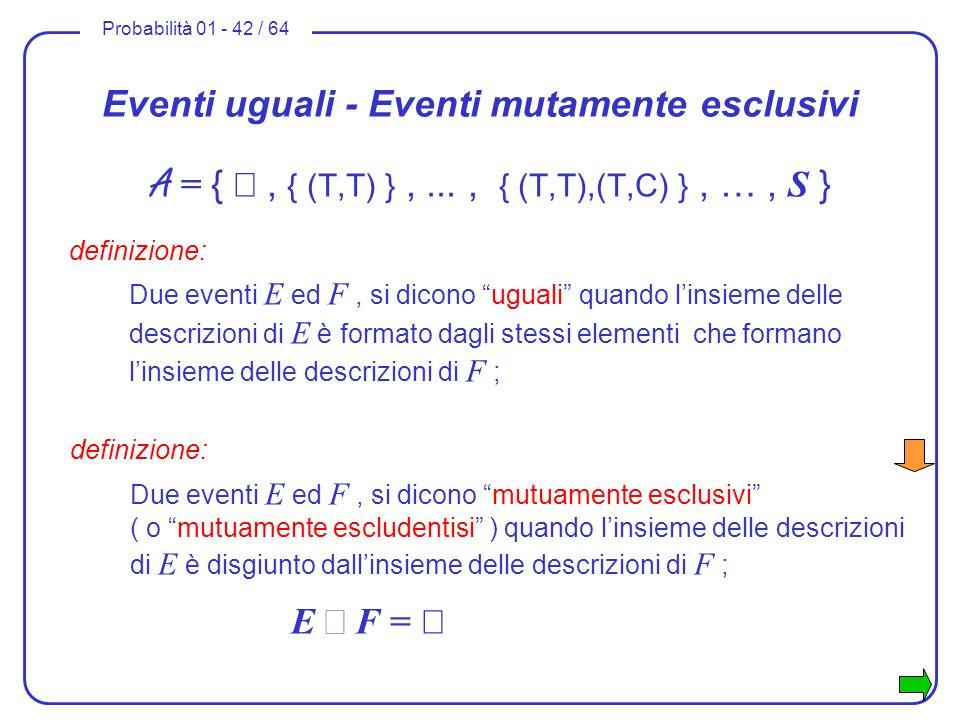 Eventi uguali - Eventi mutamente esclusivi