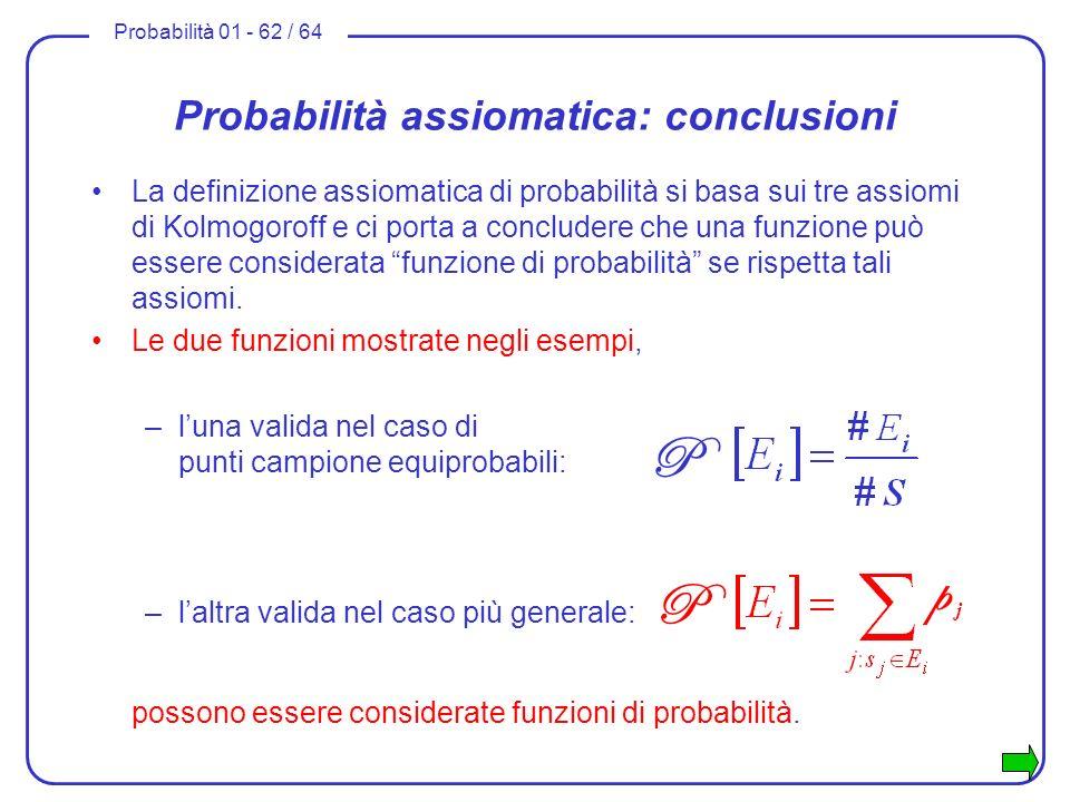 Probabilità assiomatica: conclusioni
