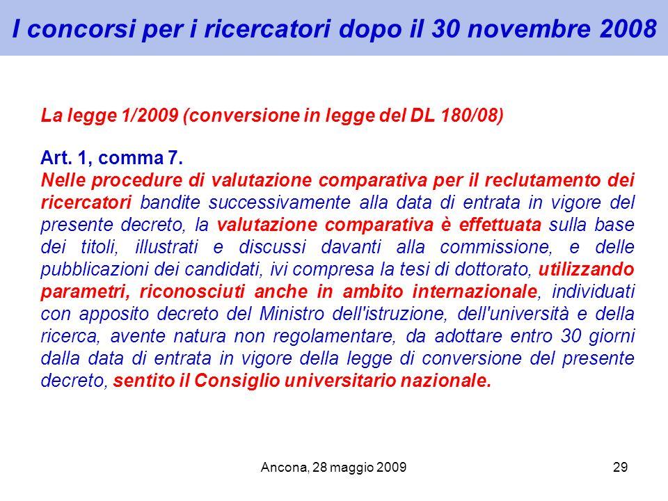 I concorsi per i ricercatori dopo il 30 novembre 2008