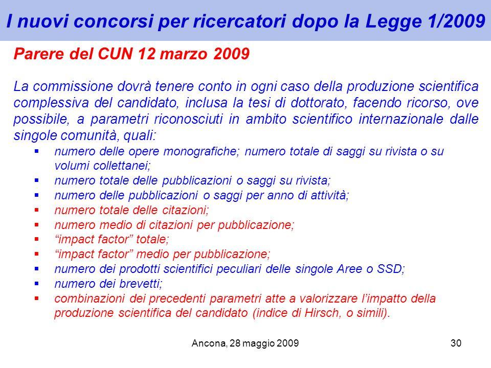 I nuovi concorsi per ricercatori dopo la Legge 1/2009