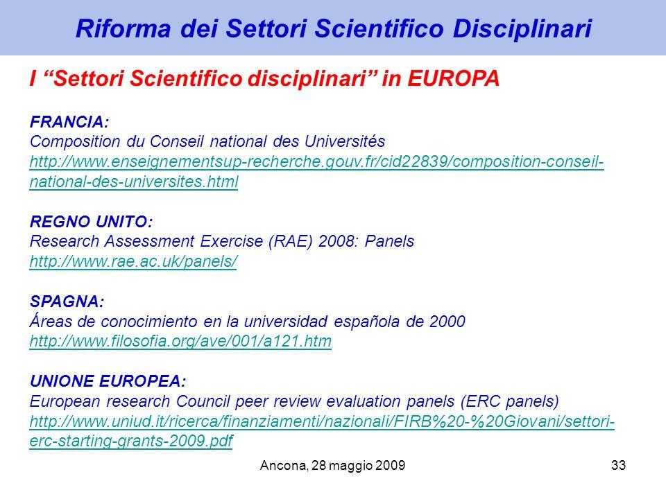 Riforma dei Settori Scientifico Disciplinari