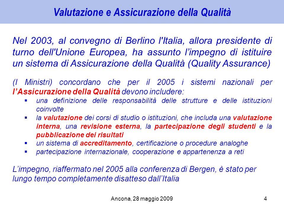 Valutazione e Assicurazione della Qualità