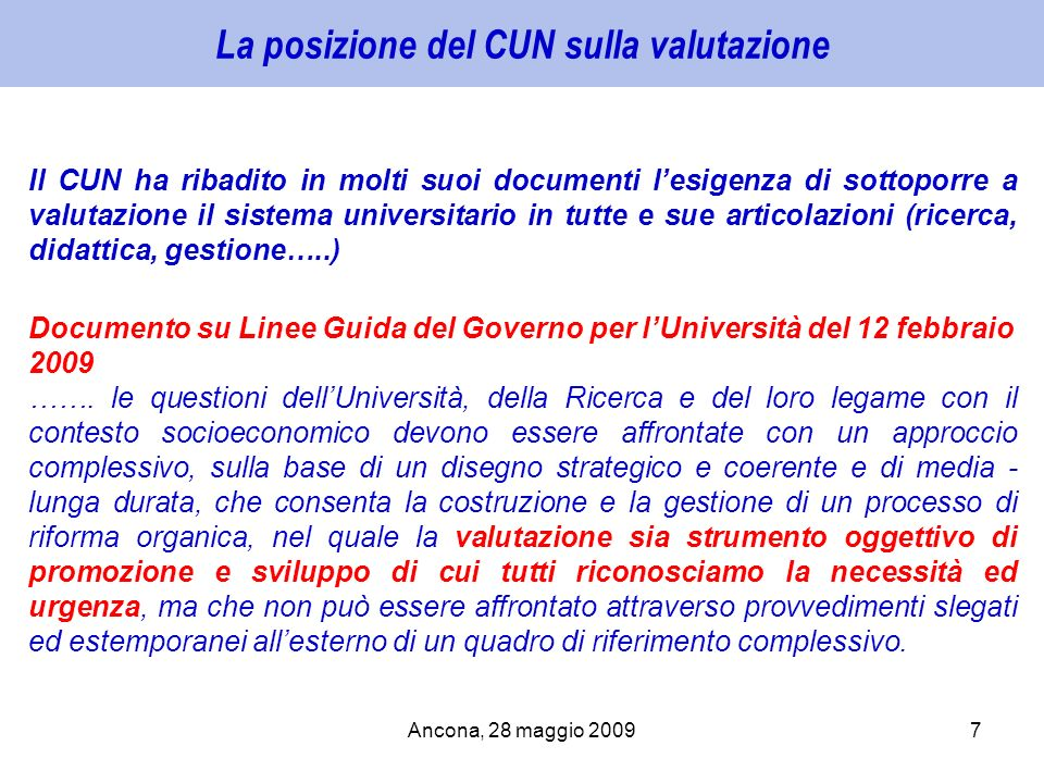 La posizione del CUN sulla valutazione