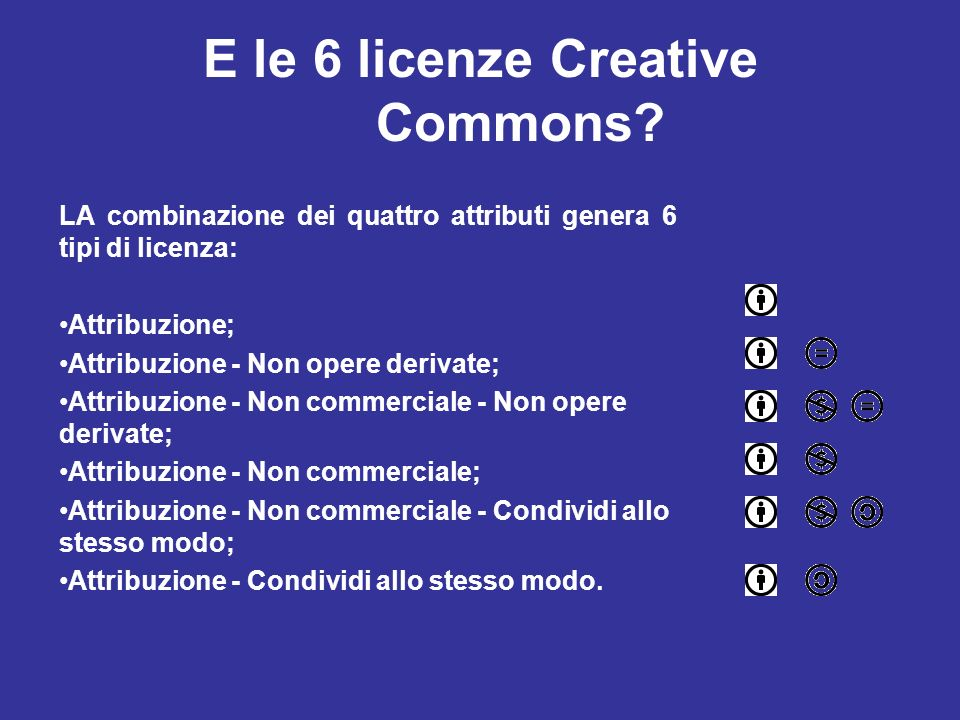 E le 6 licenze Creative Commons
