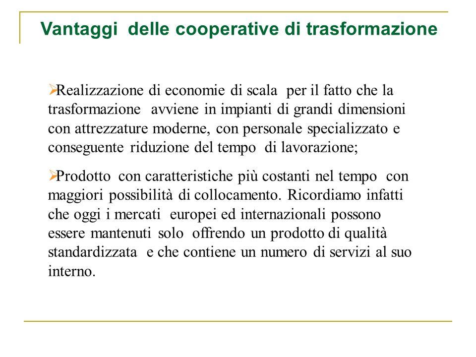 Vantaggi delle cooperative di trasformazione