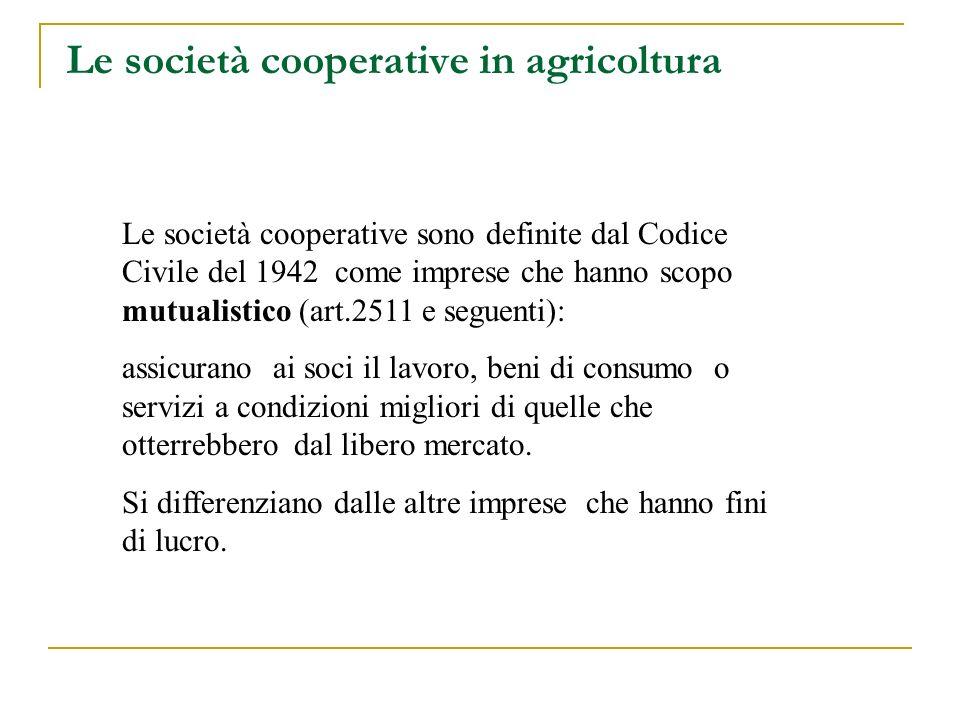 Le società cooperative in agricoltura