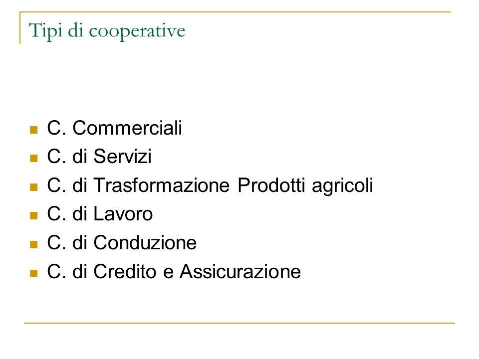 Tipi di cooperative C. Commerciali C. di Servizi