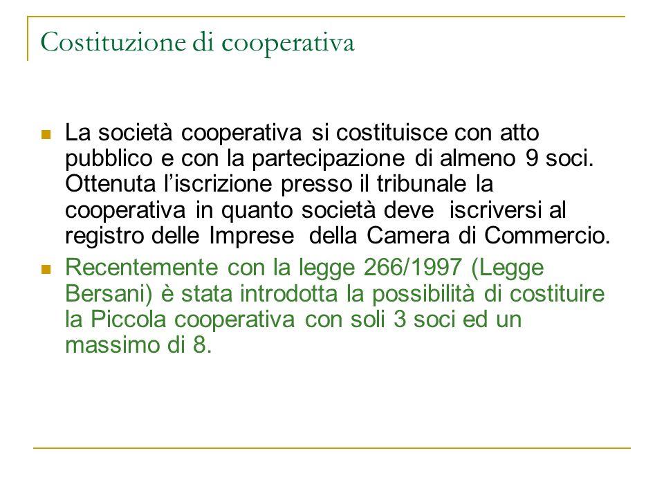 Costituzione di cooperativa