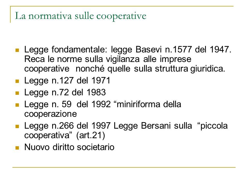 La normativa sulle cooperative