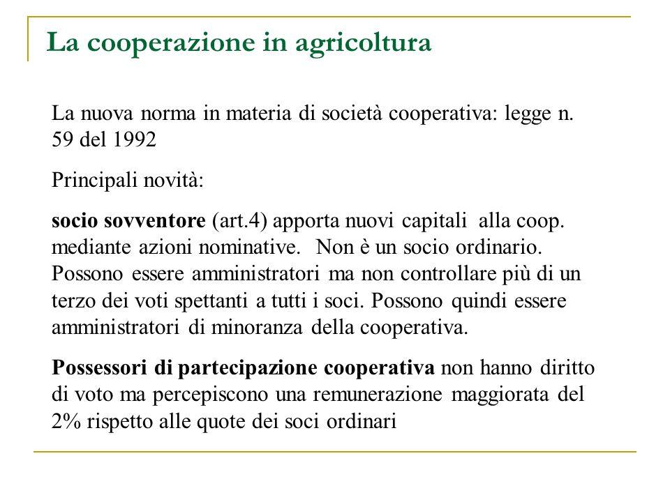 La cooperazione in agricoltura