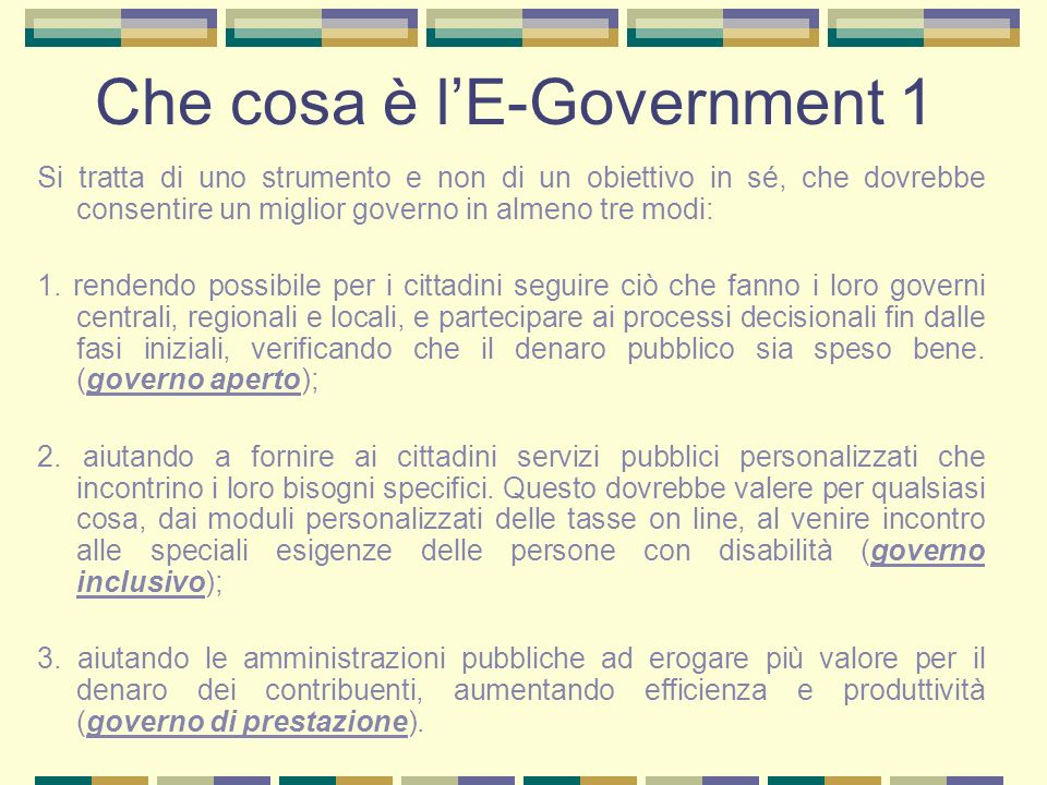 Che cosa è l'E-Government 1