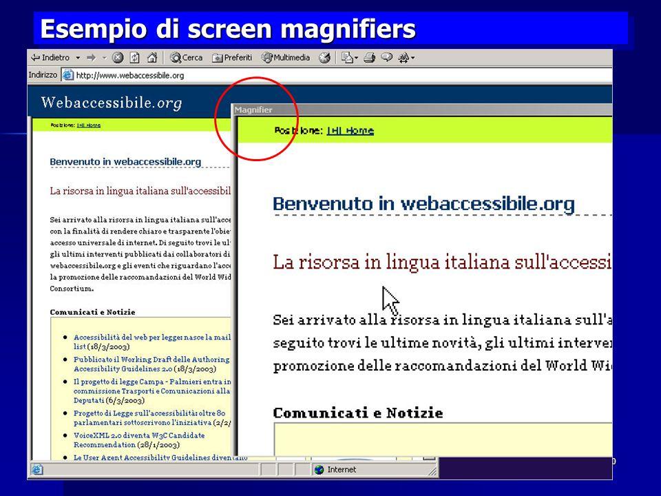 Esempio di screen magnifiers