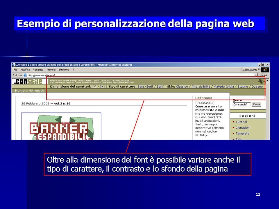 Esempio di personalizzazione della pagina web