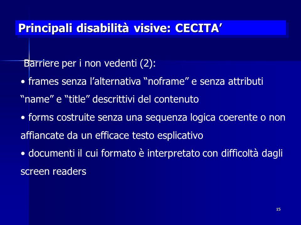 Principali disabilità visive: CECITA'