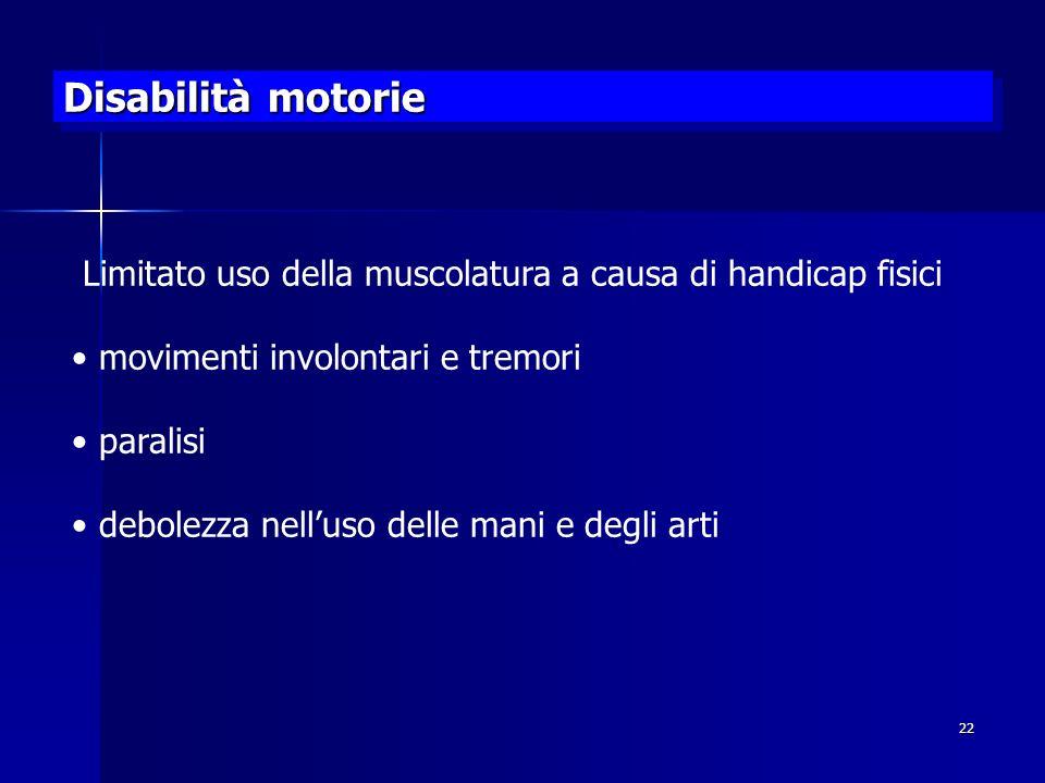 Disabilità motorie Limitato uso della muscolatura a causa di handicap fisici. movimenti involontari e tremori.