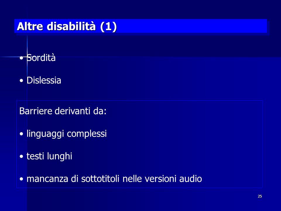 Altre disabilità (1) Sordità Dislessia Barriere derivanti da: