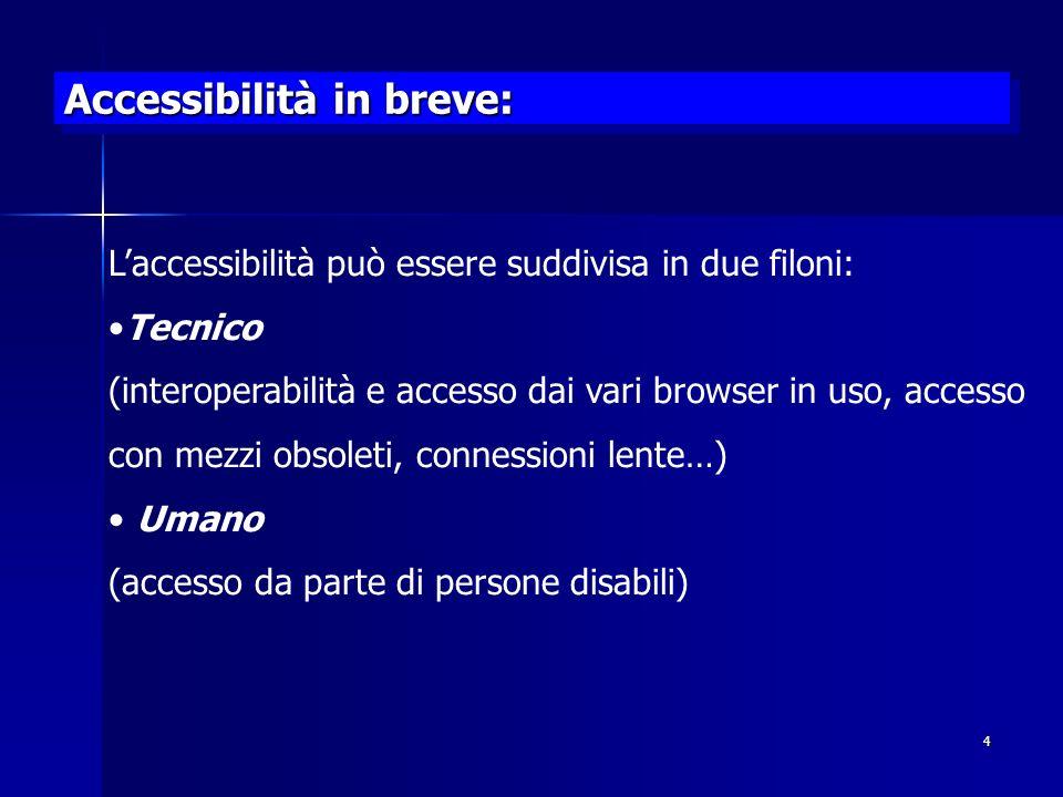 Accessibilità in breve: