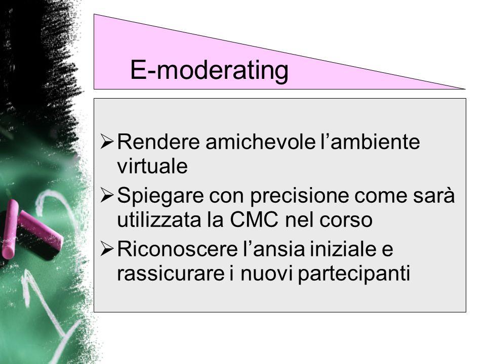 E-moderating Rendere amichevole l'ambiente virtuale