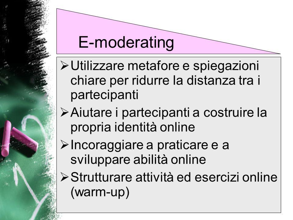 E-moderatingUtilizzare metafore e spiegazioni chiare per ridurre la distanza tra i partecipanti.