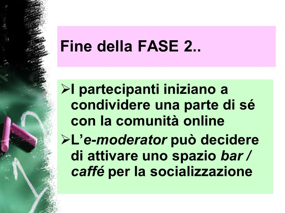 Fine della FASE 2.. I partecipanti iniziano a condividere una parte di sé con la comunità online.