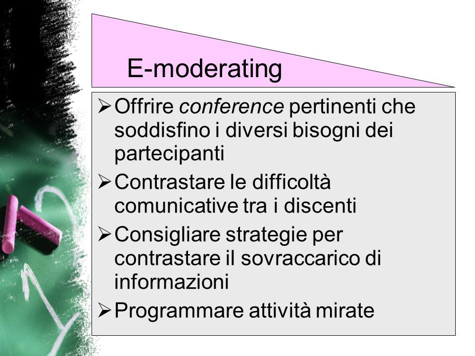 E-moderatingOffrire conference pertinenti che soddisfino i diversi bisogni dei partecipanti.