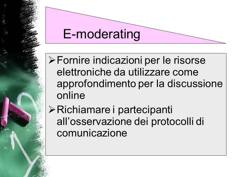 E-moderating Fornire indicazioni per le risorse elettroniche da utilizzare come approfondimento per la discussione online.
