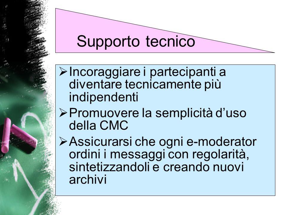 Supporto tecnicoIncoraggiare i partecipanti a diventare tecnicamente più indipendenti. Promuovere la semplicità d'uso della CMC.