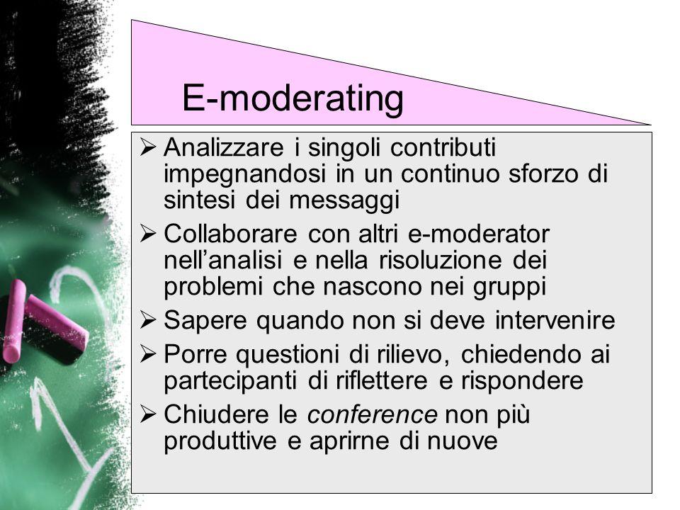 E-moderatingAnalizzare i singoli contributi impegnandosi in un continuo sforzo di sintesi dei messaggi.