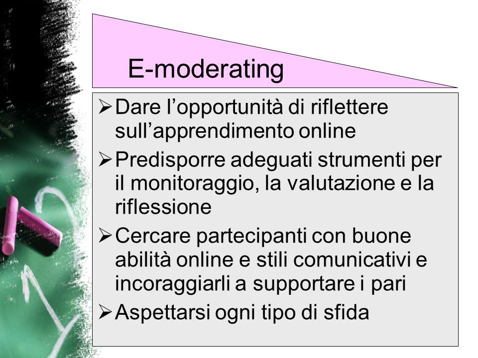 E-moderatingDare l'opportunità di riflettere sull'apprendimento online.