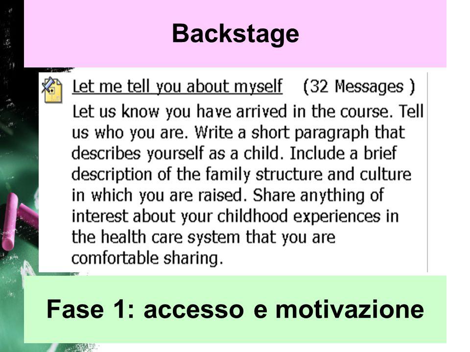 Fase 1: accesso e motivazione