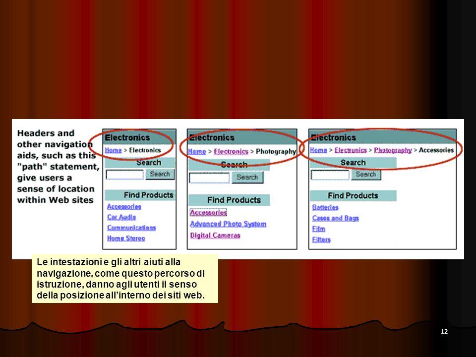 Le intestazioni e gli altri aiuti alla navigazione, come questo percorso di istruzione, danno agli utenti il senso della posizione all'interno dei siti web.