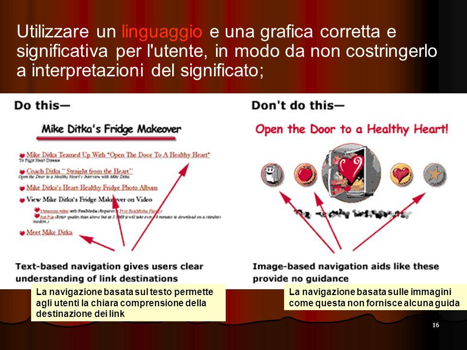 Utilizzare un linguaggio e una grafica corretta e significativa per l utente, in modo da non costringerlo a interpretazioni del significato;
