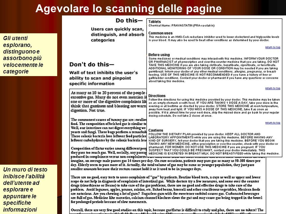 Agevolare lo scanning delle pagine