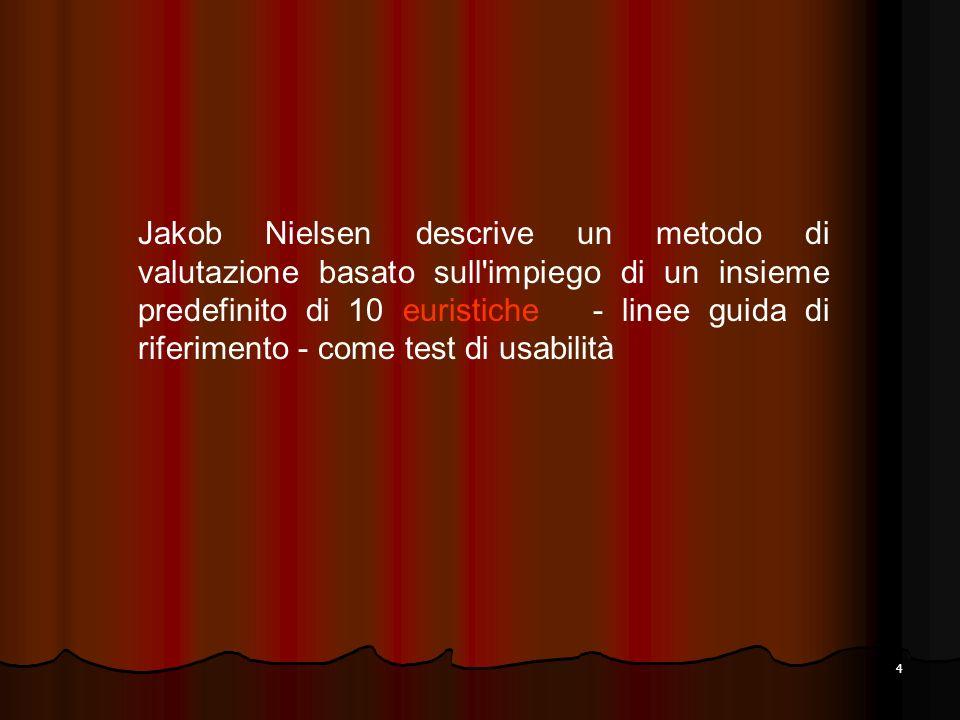 Jakob Nielsen descrive un metodo di valutazione basato sull impiego di un insieme predefinito di 10 euristiche - linee guida di riferimento - come test di usabilità