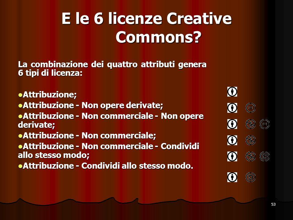 E le 6 licenze Creative Commons