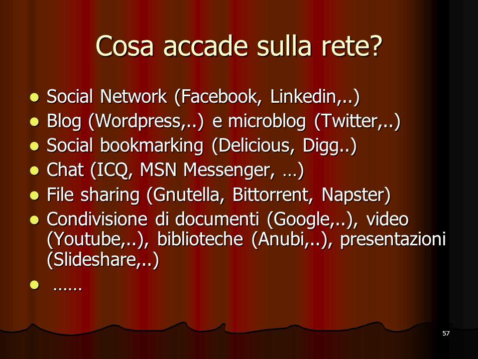 Cosa accade sulla rete Social Network (Facebook, Linkedin,..)