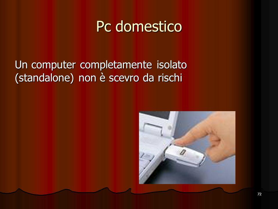 Pc domestico Un computer completamente isolato (standalone) non è scevro da rischi