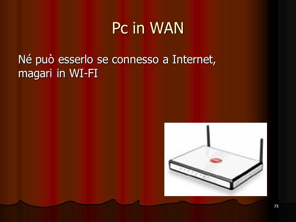 Pc in WAN Né può esserlo se connesso a Internet, magari in WI-FI