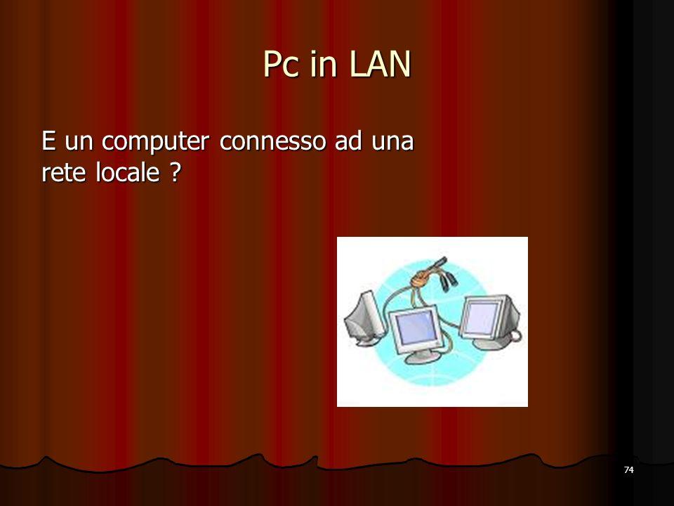 Pc in LAN E un computer connesso ad una rete locale
