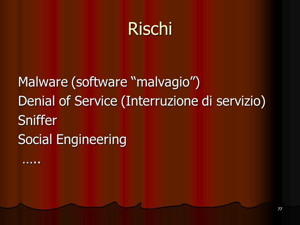 Rischi Malware (software malvagio )