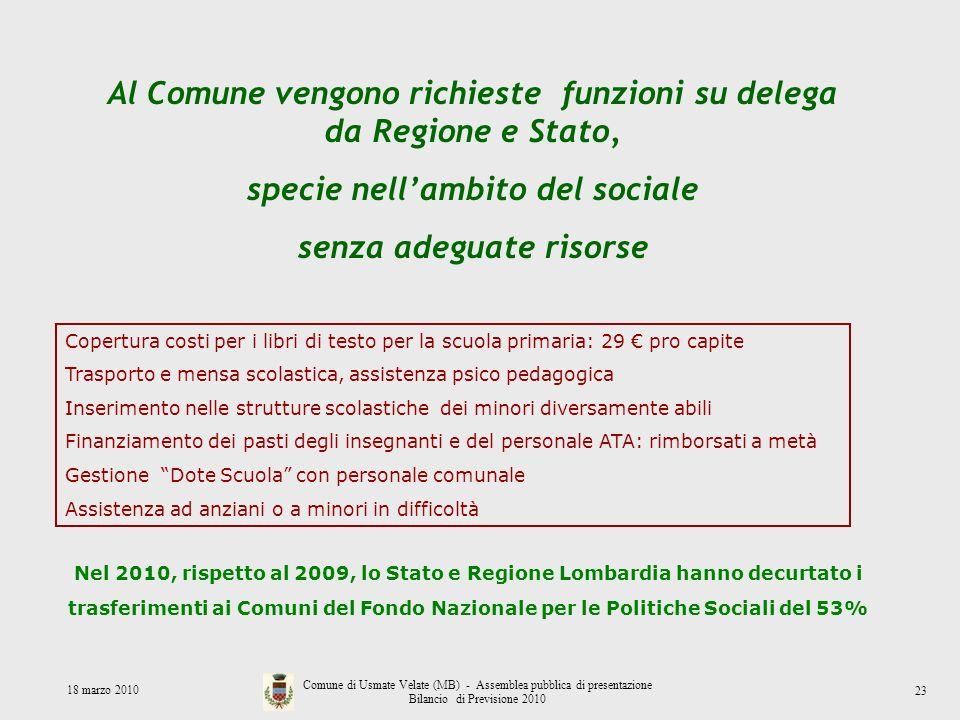 Al Comune vengono richieste funzioni su delega da Regione e Stato,