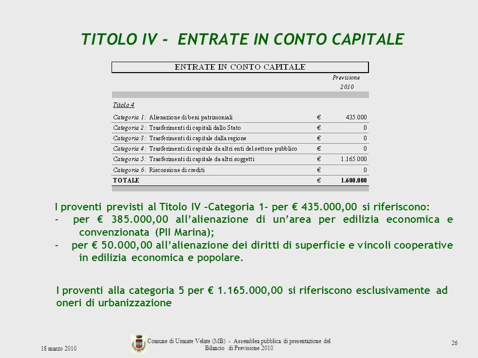 TITOLO IV - ENTRATE IN CONTO CAPITALE