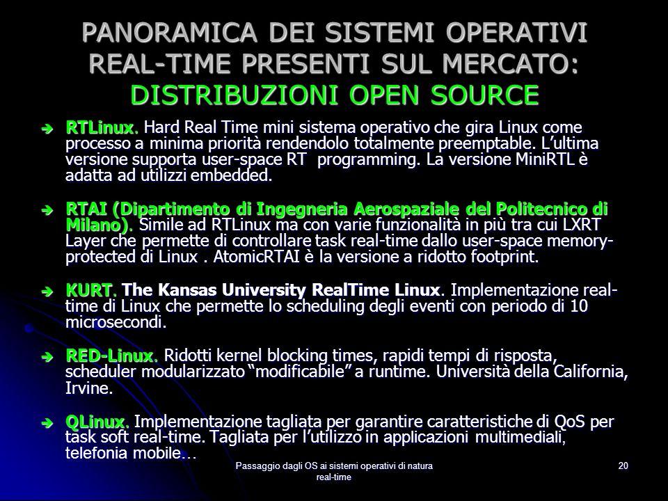 Passaggio dagli OS ai sistemi operativi di natura real-time
