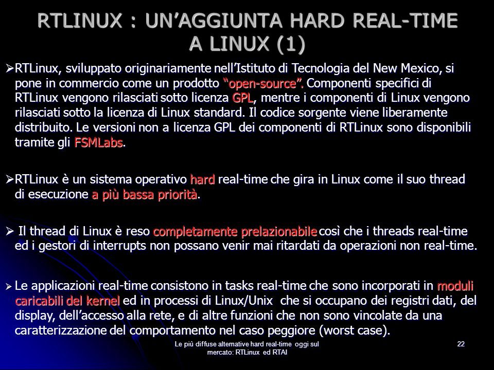 RTLINUX : UN'AGGIUNTA HARD REAL-TIME A LINUX (1)