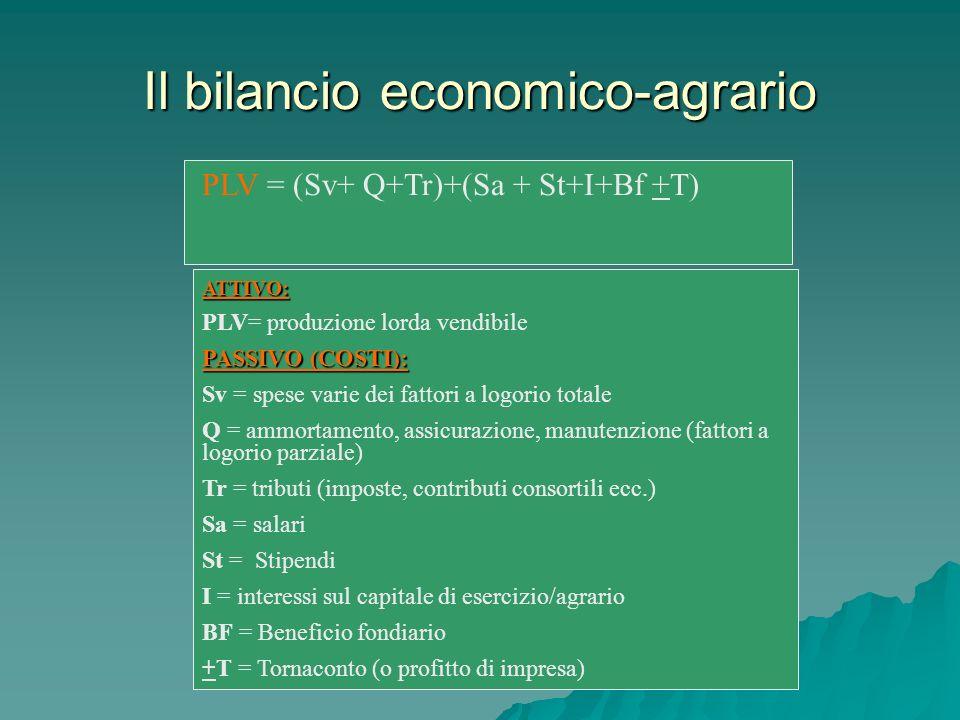 Il bilancio economico-agrario