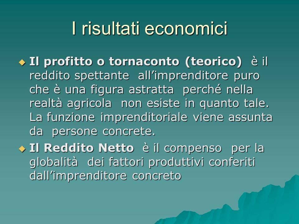 I risultati economici