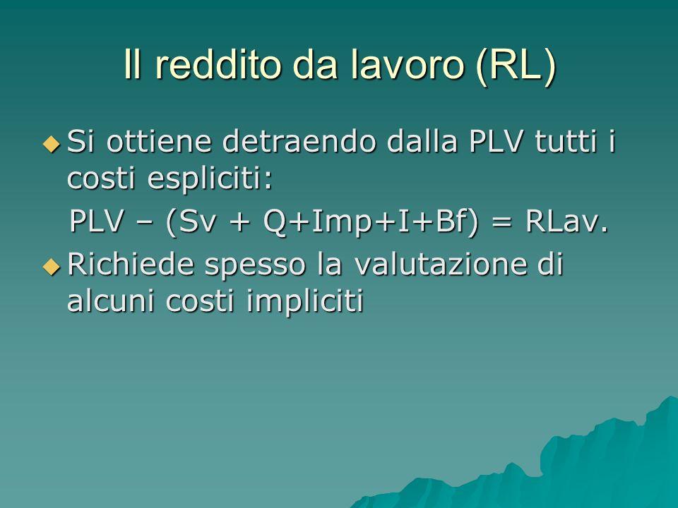 Il reddito da lavoro (RL)